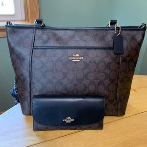 COACH SIGNATURE POCKET TOTe & WALLET NWT